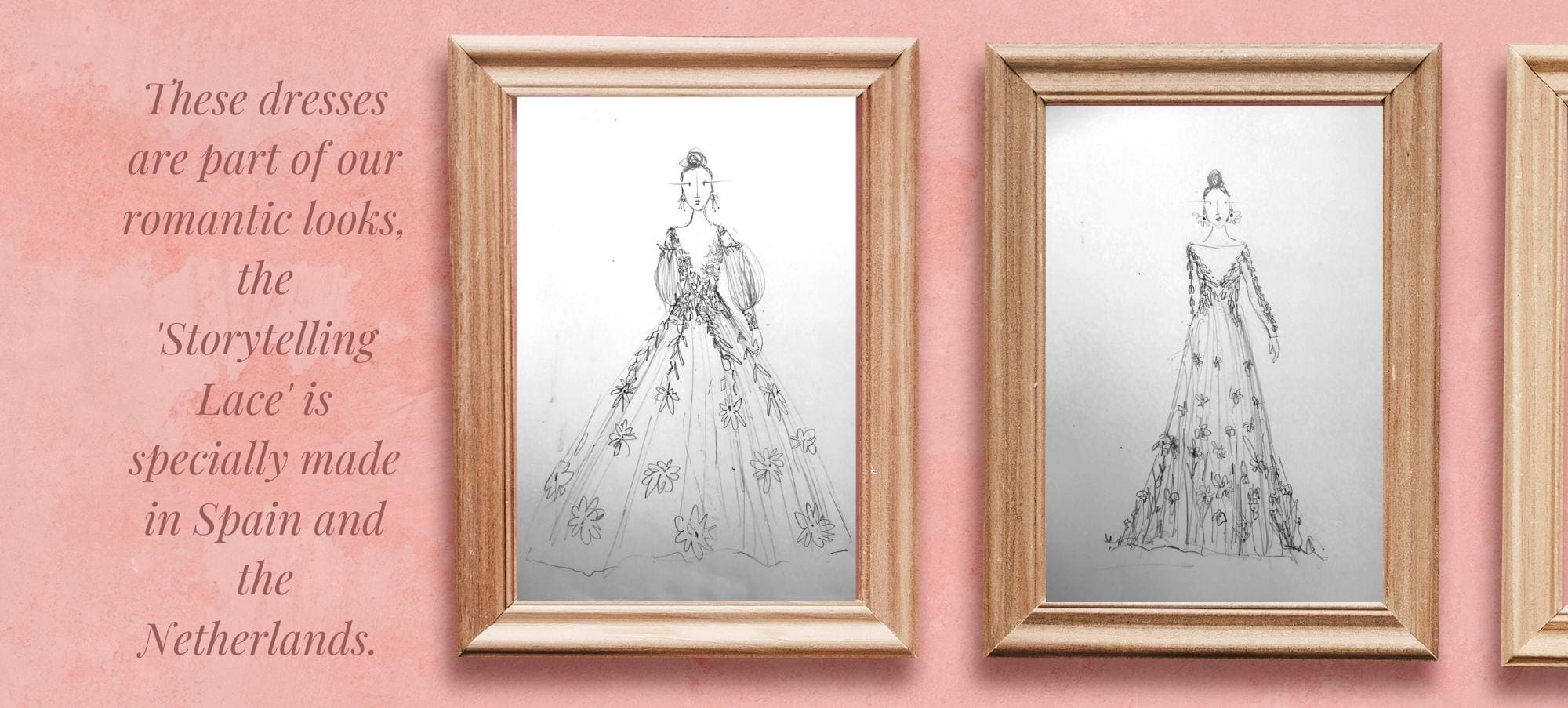Drawings of two dresses with story telling lace.