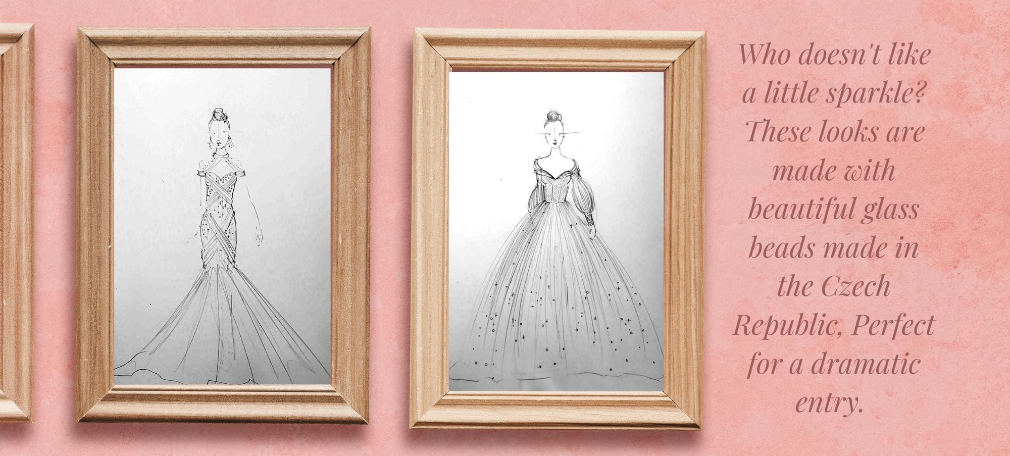 Drawings of two dresses with glass beads from the Czech Republic.