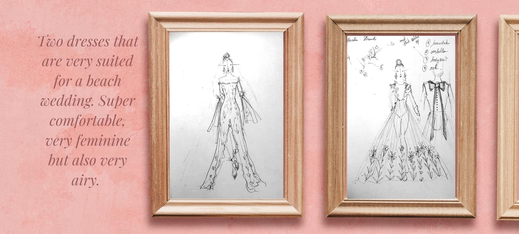 Drawings of two dresses for a beach wedding